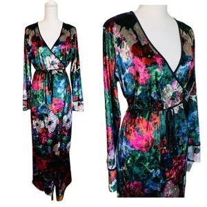 ZARA | Floral Velvet Maxi Kimono Wrap Dress